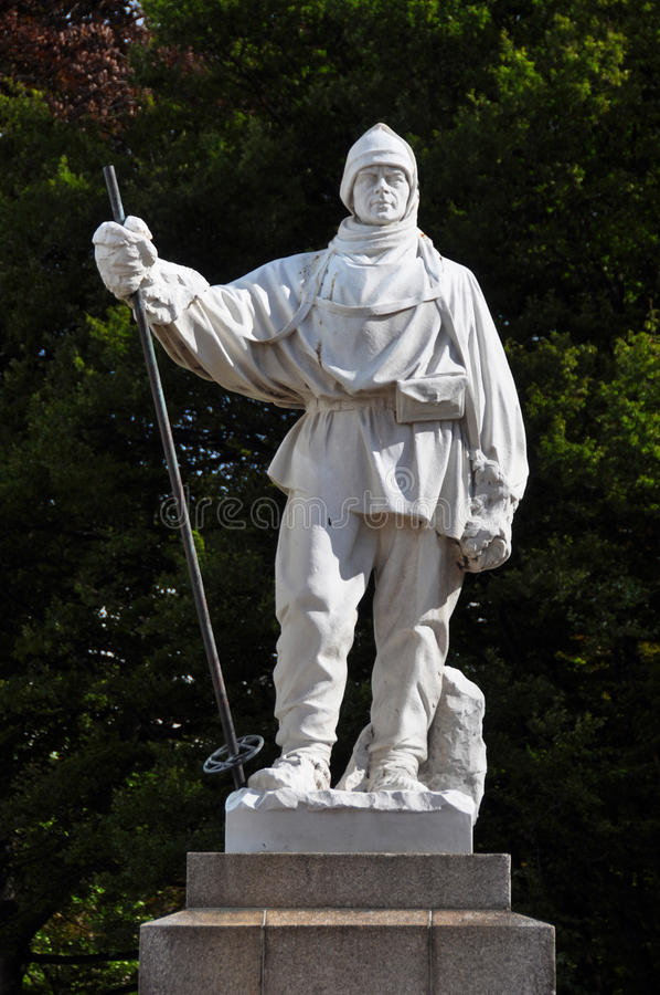 Nieuwe Christchurch - Robert Falcon Scott Statue royalty-vrije stock foto's