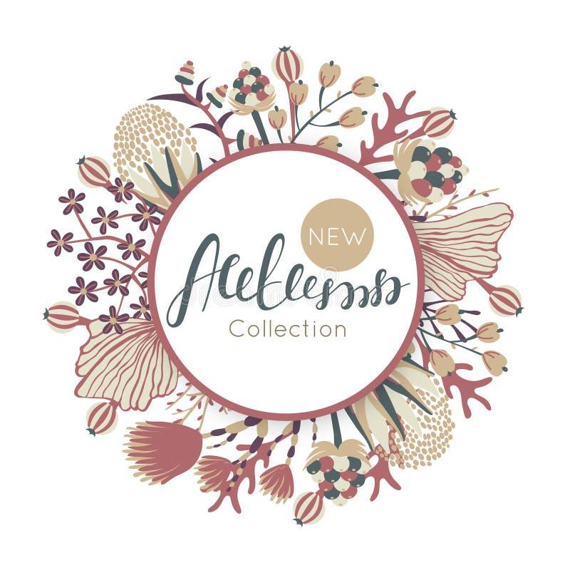Nieuwe de herfstinzameling Daling Bloemen rond frame Hand getrokken bloemen rond cirkel royalty-vrije illustratie