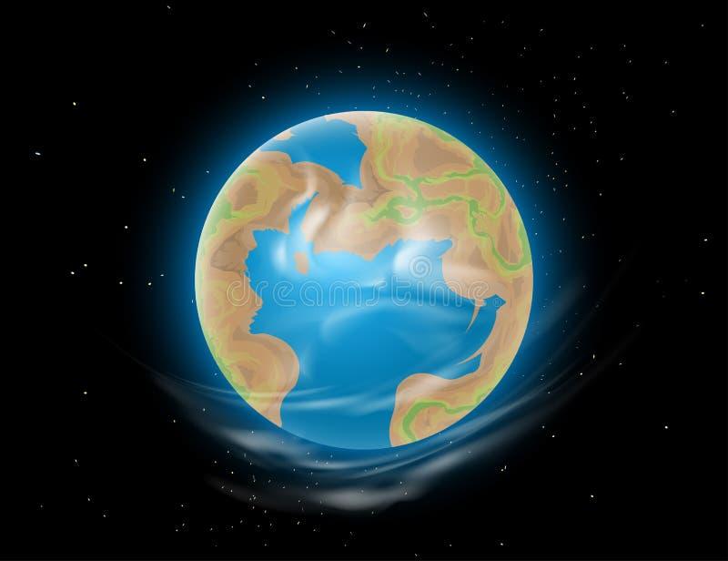 Nieuwe de scènevector van de Aardekosmische ruimte vector illustratie