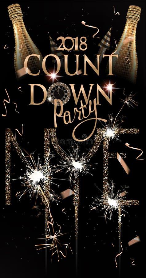 Nieuwe de uitnodigingskaart van de jaarpartij met fonkelende fles van wijn, vuurwerk en sterretjes royalty-vrije illustratie