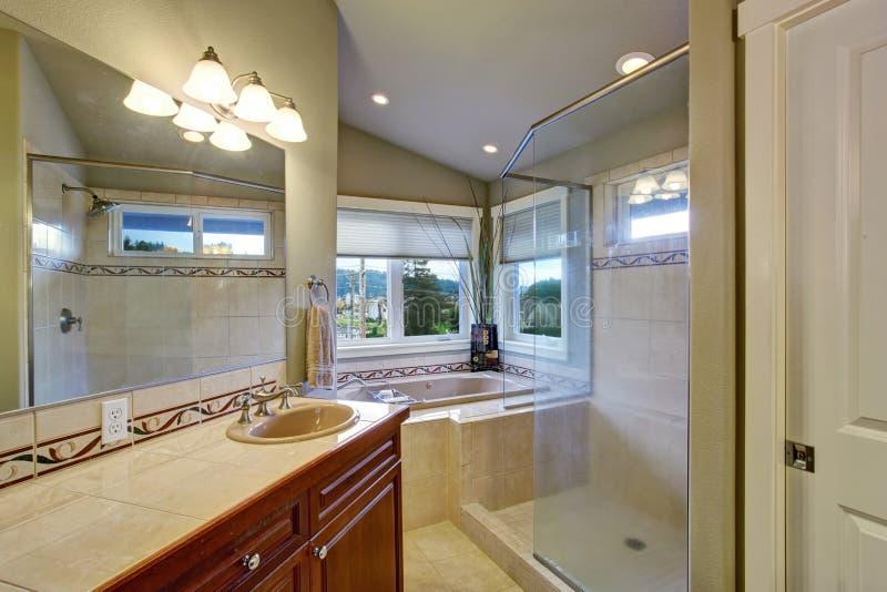 Nieuwe die badkamers met hoofdslaapkamer wordt verbonden royalty-vrije stock foto