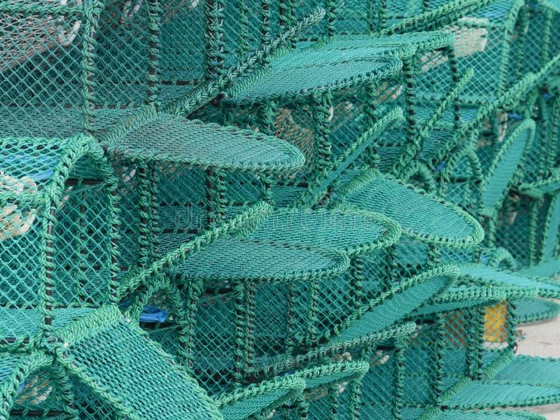 Nieuwe die Zeekreeftpotten op een Haven worden gestapeld royalty-vrije stock foto