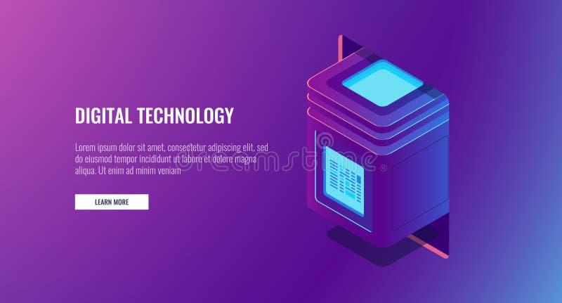 Nieuwe digitale technologie, serverruimte, computerblok met beschermde informatie, het concept van de gegevensencryptie vector illustratie