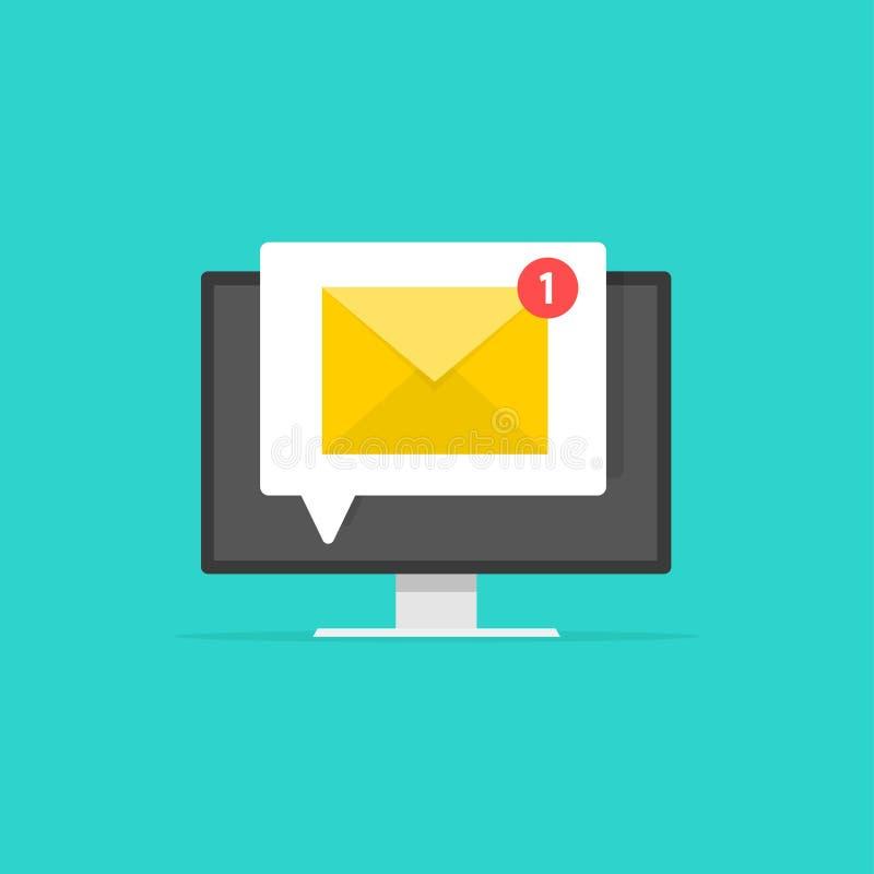 Nieuwe e-mail op het computerscherm, e-mailenvelop met ontvangen bericht en browser, idee van bulletinbericht stock illustratie