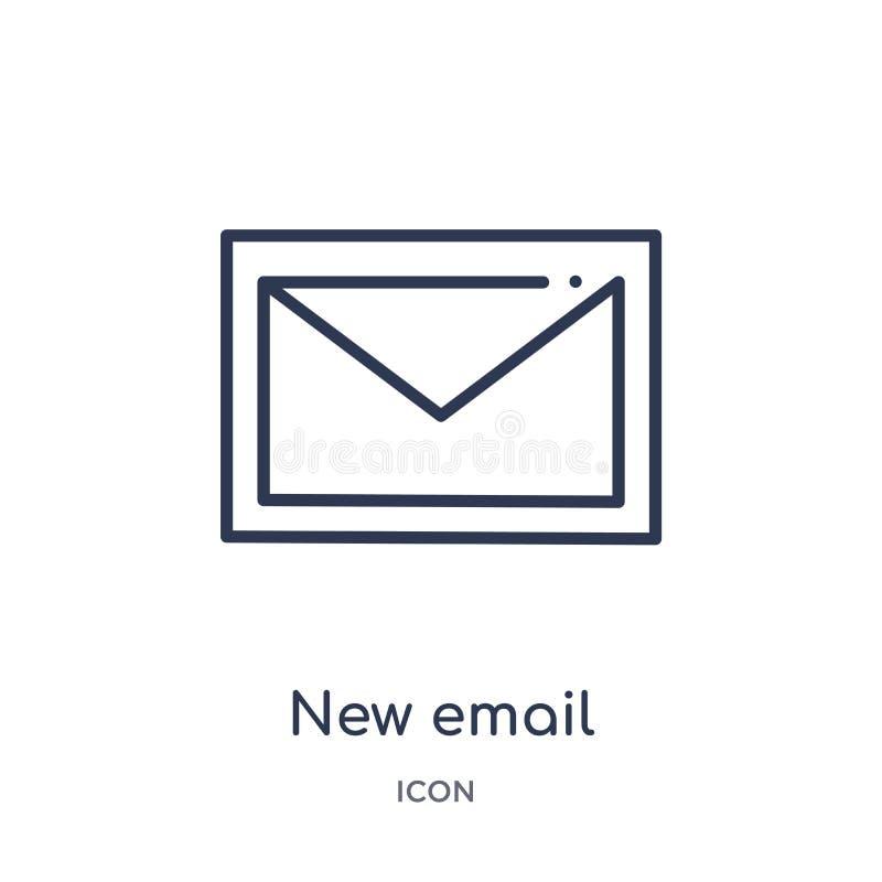 nieuwe e-mail vulde enveloppictogram vanaf de inzameling van het gebruikersinterfaceoverzicht De dunne lijn nieuwe die e-mail vul stock illustratie