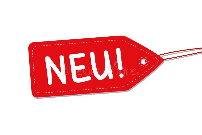 Nieuwe eenvoudige rode etiketvector royalty-vrije illustratie
