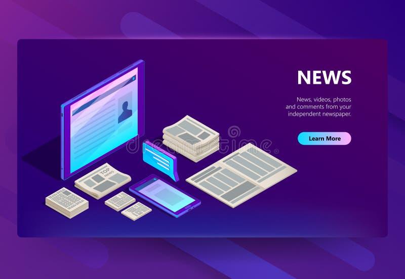 Nieuwe en media technologie vectorillustratie stock illustratie