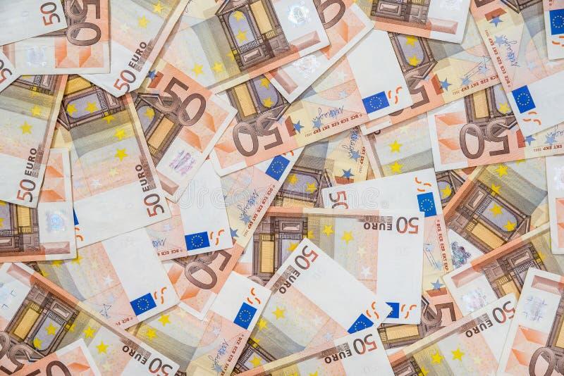 50 nieuwe en oude euro rekeningen stock fotografie
