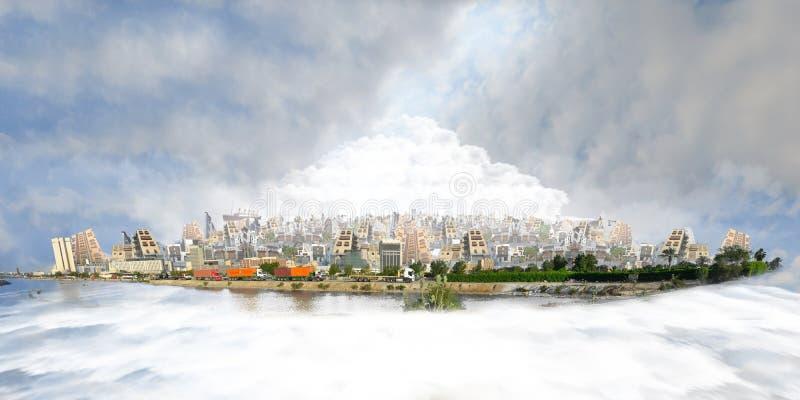 Nieuwe en oude jeddah over overzees van wolken bij daglicht stock illustratie