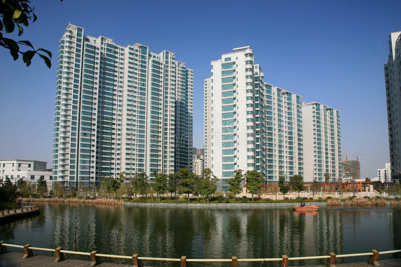 Nieuwe Flatgebouwen in China royalty-vrije stock afbeelding