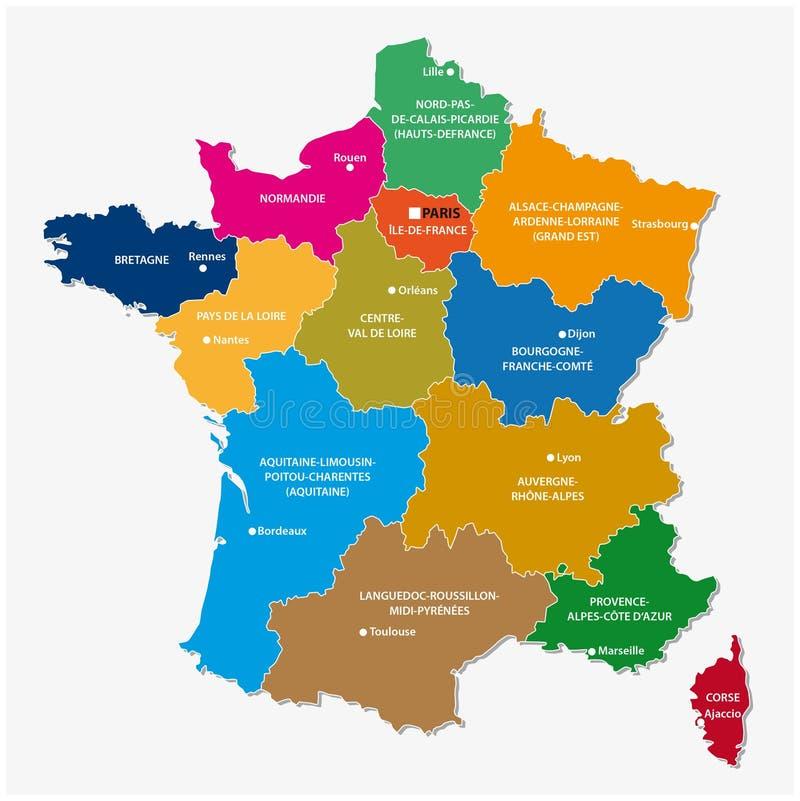 Nieuwe gebieden van Frankrijk, kaart stock illustratie