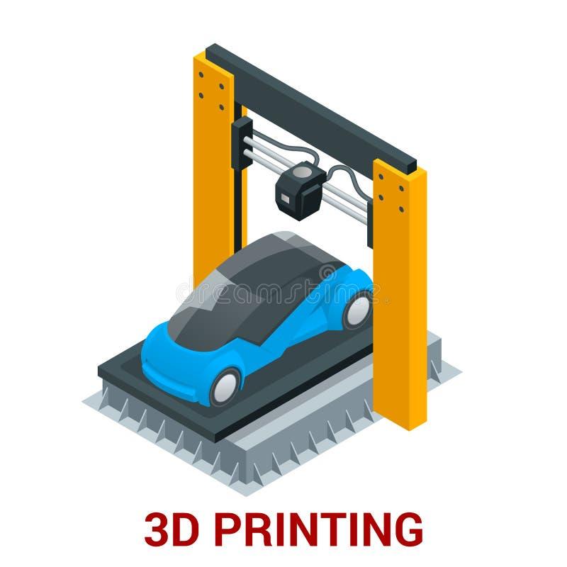 Nieuwe generatie van 3D de drukauto van de Drukmachine Vector isometrische illustratie vector illustratie
