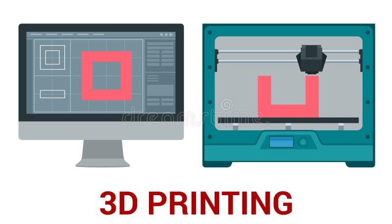 Nieuwe generatie van 3D Drukmachine die een model van plastiek drukken stock illustratie