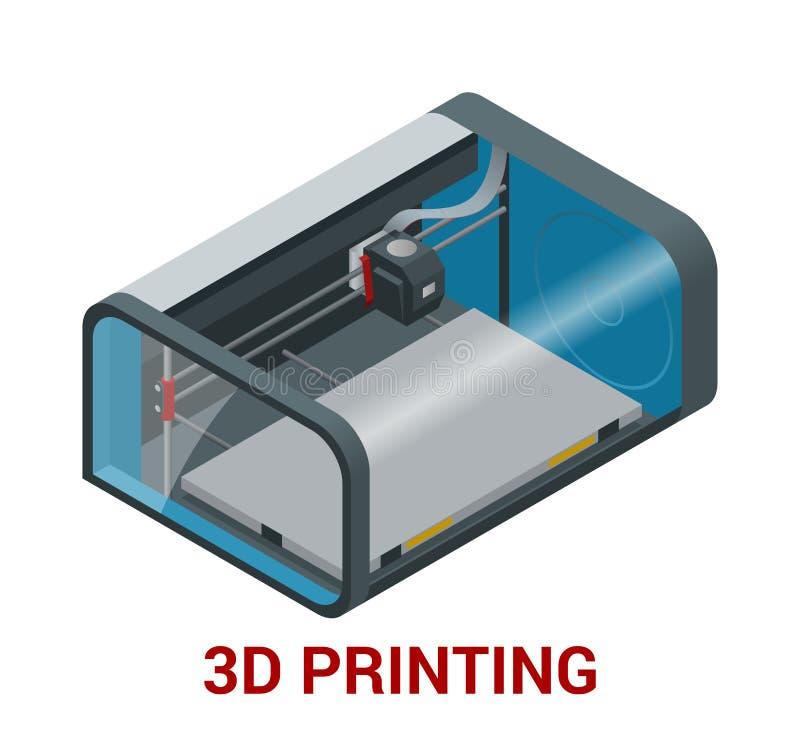 Nieuwe generatie van 3D Drukmachine die een model van plastiek drukken vector illustratie