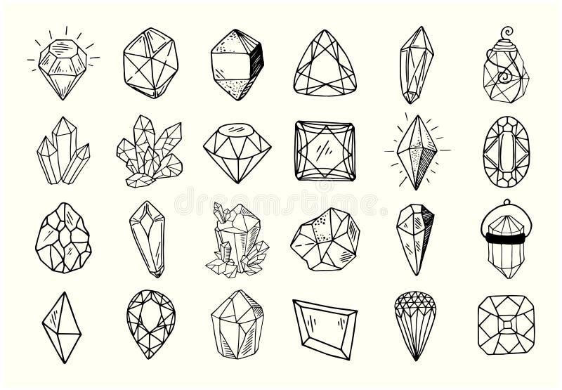 Nieuwe Geplaatste Kristallen stock illustratie