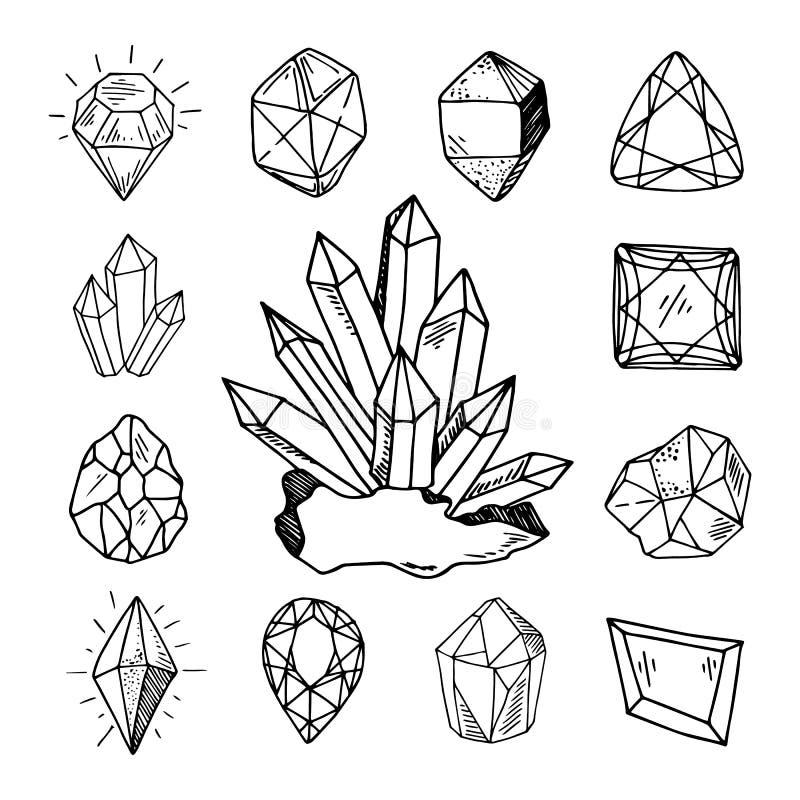 Nieuwe Geplaatste Kristallen royalty-vrije illustratie