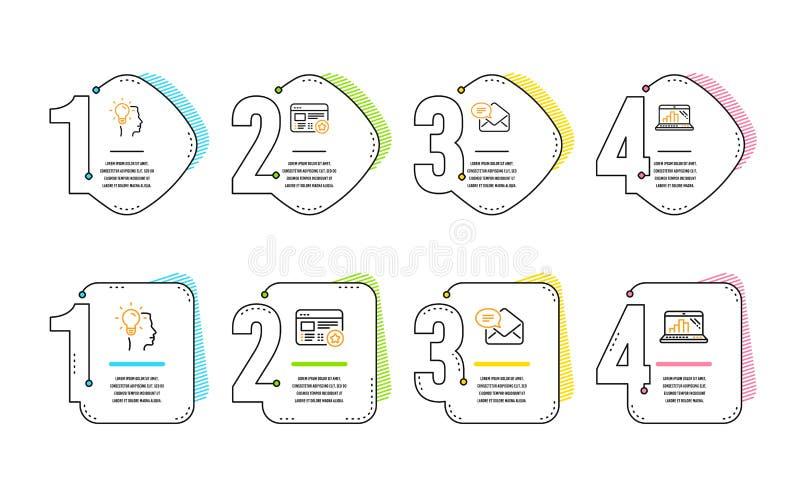 Nieuwe geplaatste post, Idee en Favoriete pictogrammen Grafieklaptop teken Ontvangen e-mail, Professionele baan, Ster koppelt ter vector illustratie