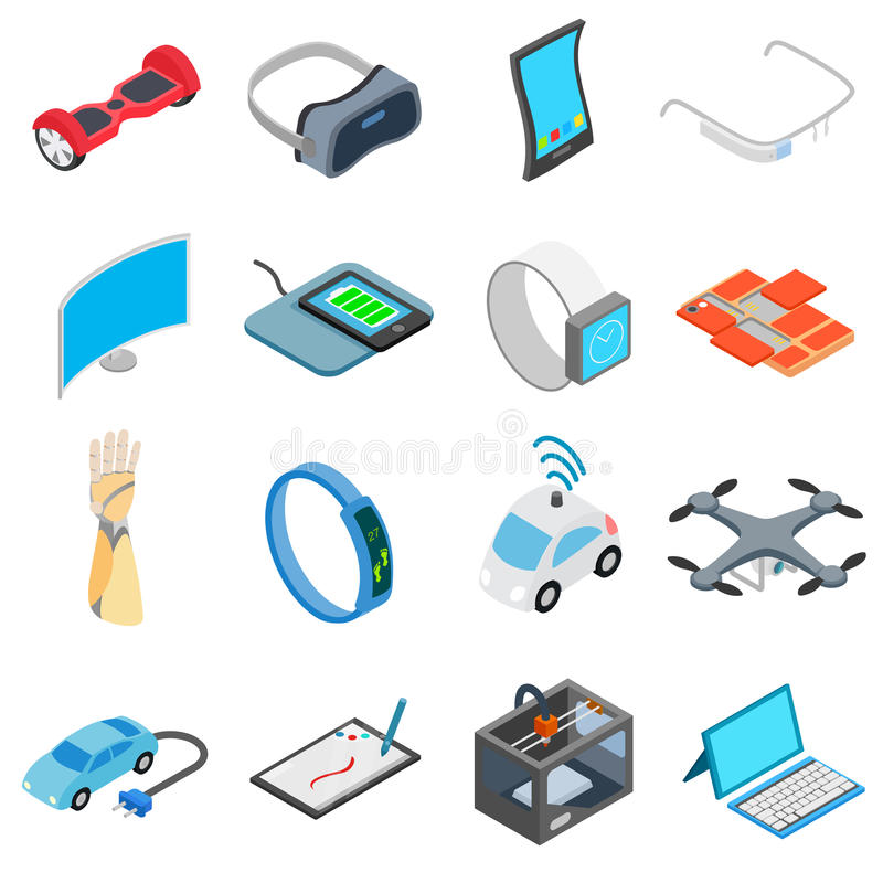 Nieuwe geplaatste technologiepictogrammen vector illustratie