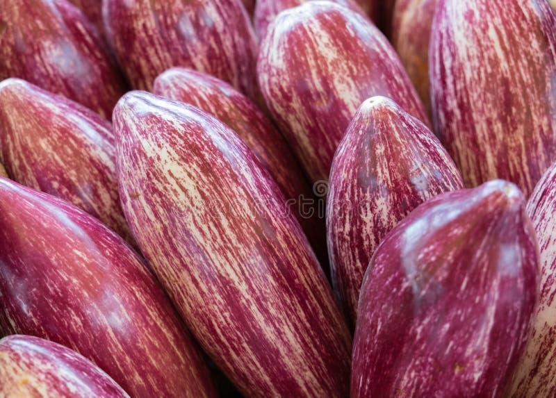 Nieuwe gestreepte aubergines voor verkoop bij lokale markt royalty-vrije stock foto