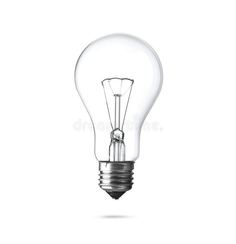 Nieuwe gloeiende gloeilamp voor moderne die lampen op witte achtergrond worden geïsoleerd Het dossier bevat een weg aan isolatie royalty-vrije stock afbeelding