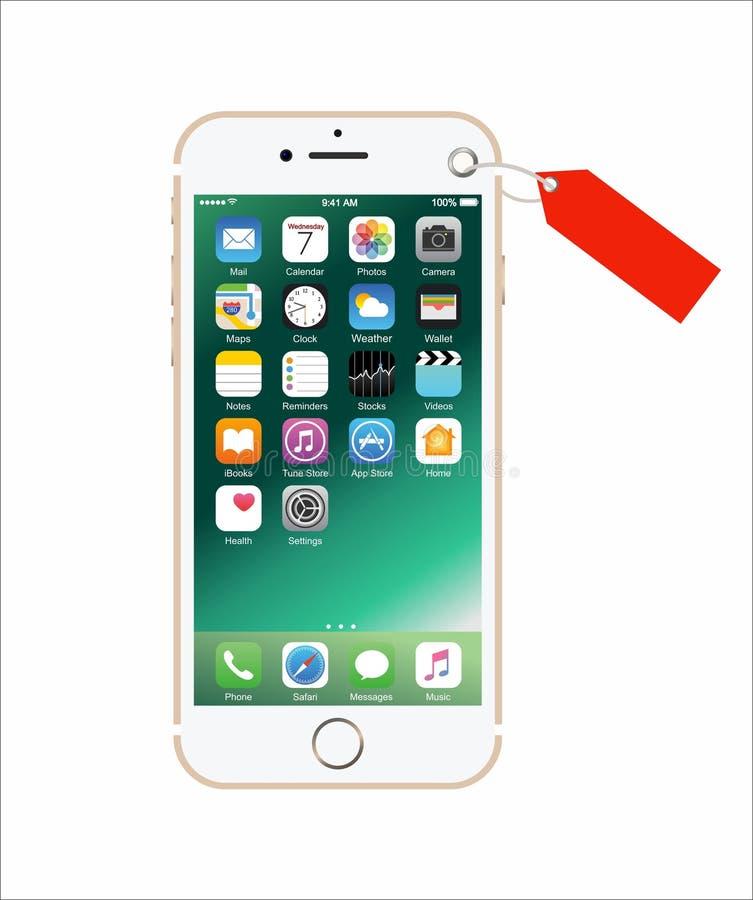 Nieuwe gouden-gekleurde witte iPhone 7 als heden royalty-vrije stock afbeeldingen