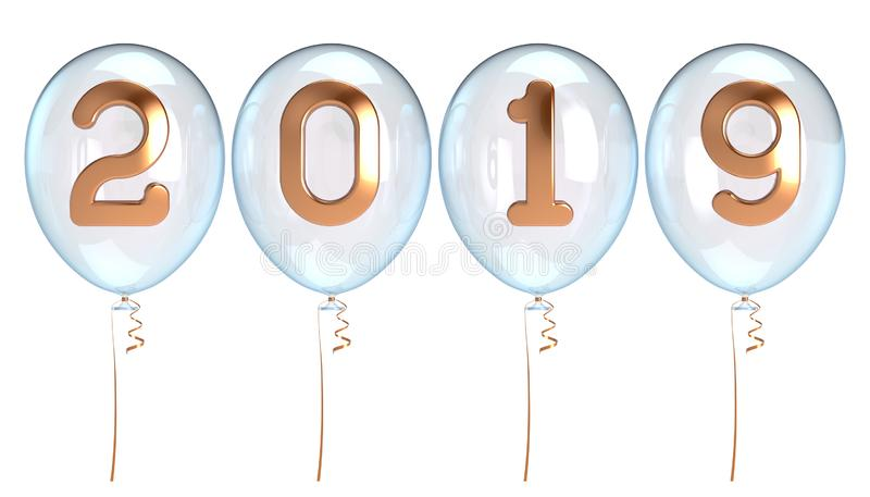 Nieuwe 2019 gouden witte doorzichtig van Jaarballons stock illustratie