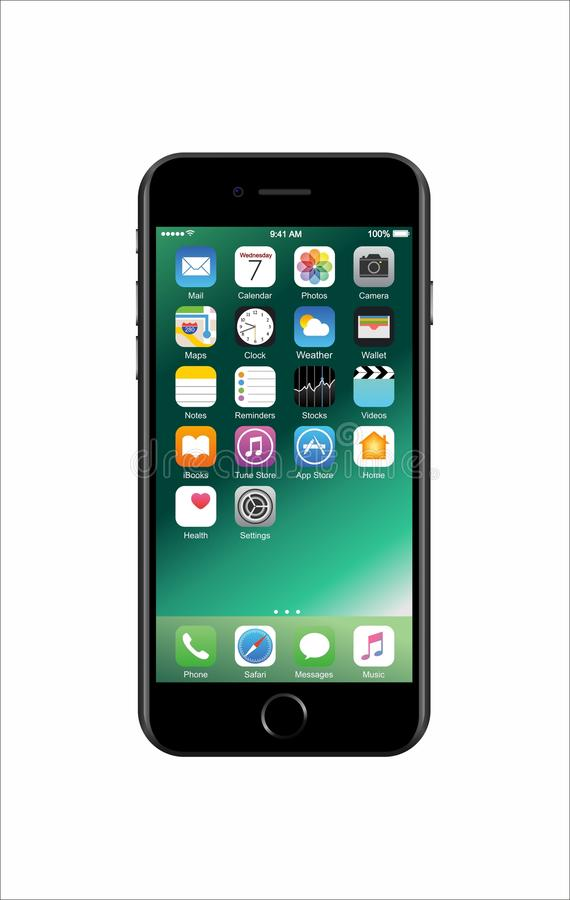 Nieuwe grijs-gekleurde iPhone 7 als heden stock afbeelding