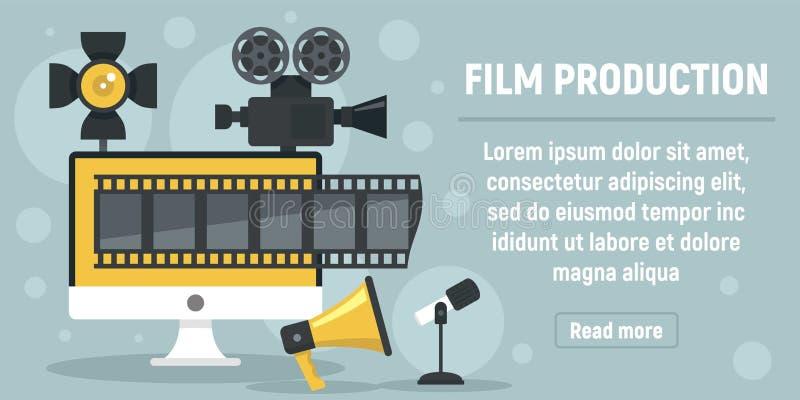 Nieuwe het conceptenbanner van de filmproductie, vlakke stijl royalty-vrije illustratie