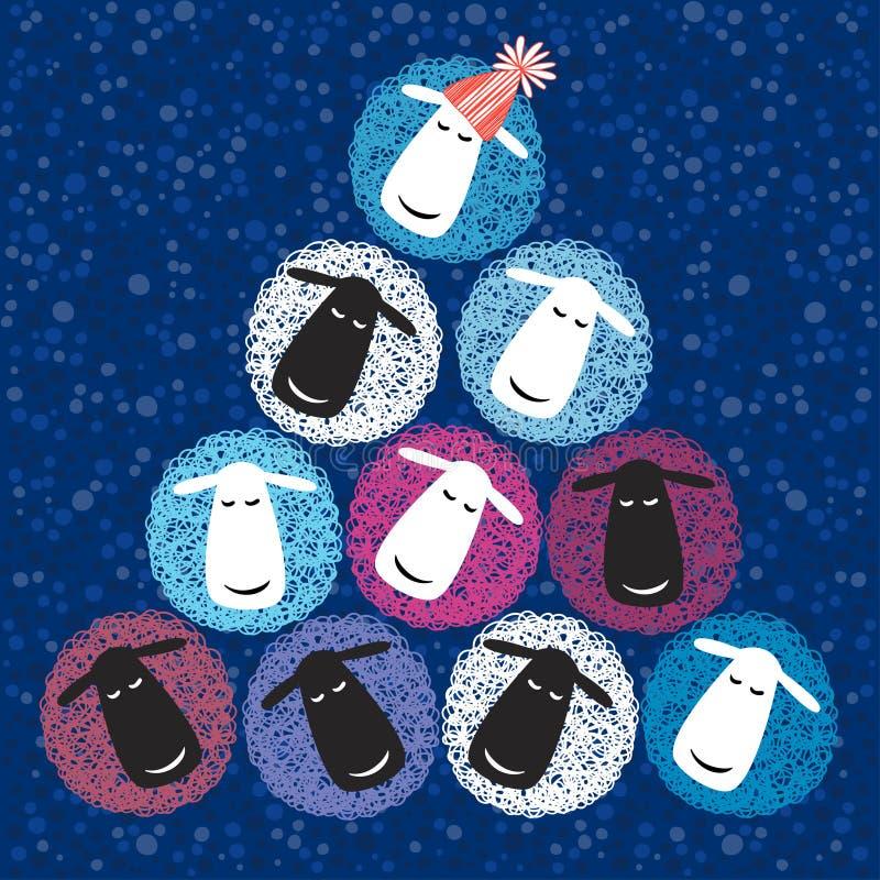 nieuwe het jaarkaart van 2015 met Kerstboom van leuke sheeps Vector i royalty-vrije illustratie