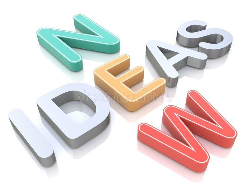 Nieuwe ideeën, woorden op een witte achtergrond met kleurrijke alfabetten stock illustratie