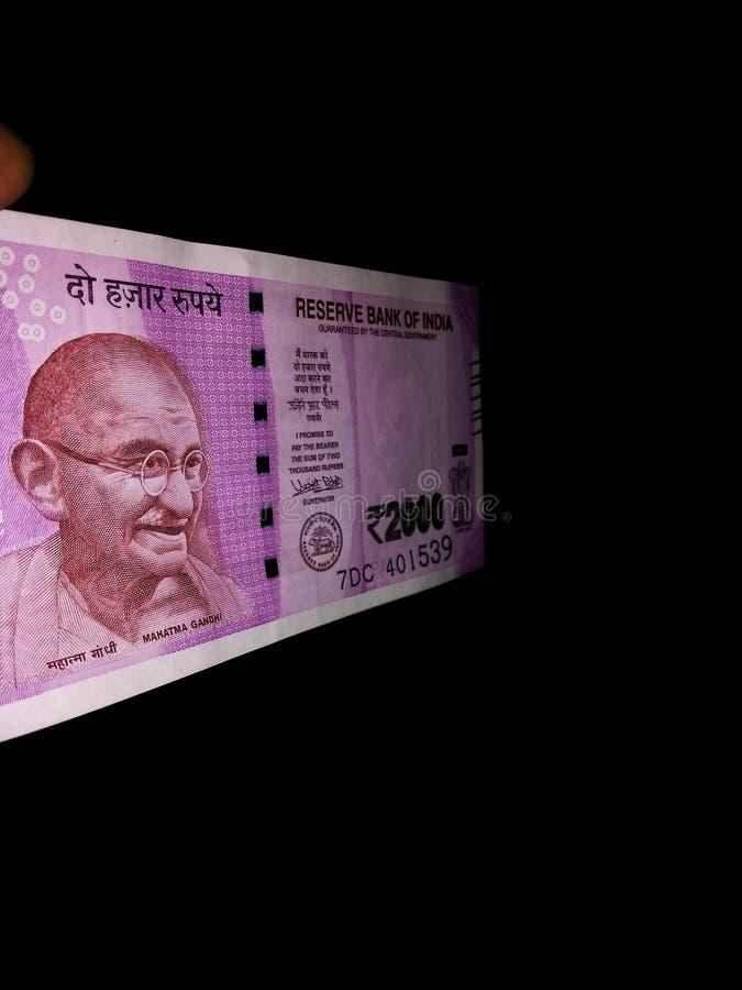 Nieuwe Indische Munt van Twee Duizend royalty-vrije stock foto's