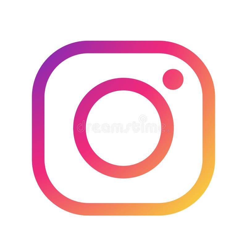 Nieuwe Instagram-het pictogramvector van het cameraembleem met de moderne illustraties van het gradiëntontwerp op witte achtergro stock illustratie