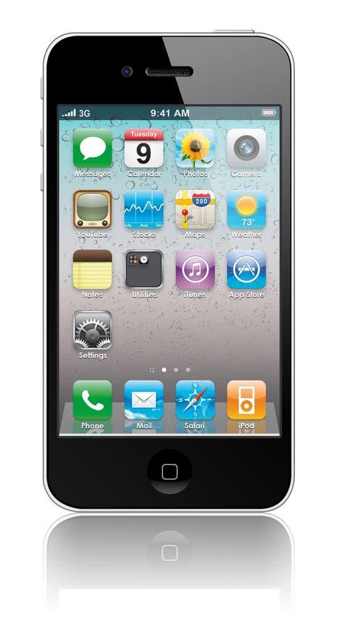 Nieuwe iPhone 4 van de Appel met binnen pictogrammen vector illustratie