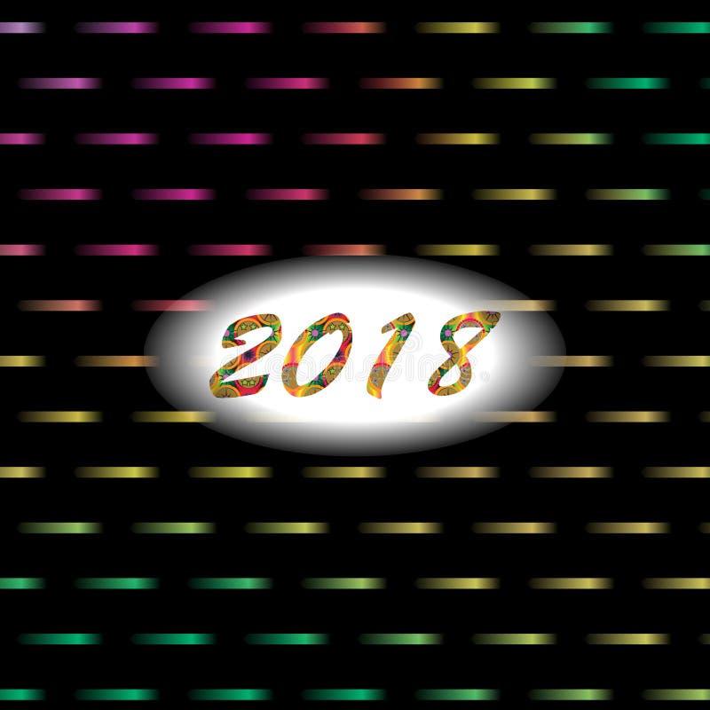 Nieuwe jaar 2018 abstracte achtergrond met lichten en neoneffect royalty-vrije illustratie