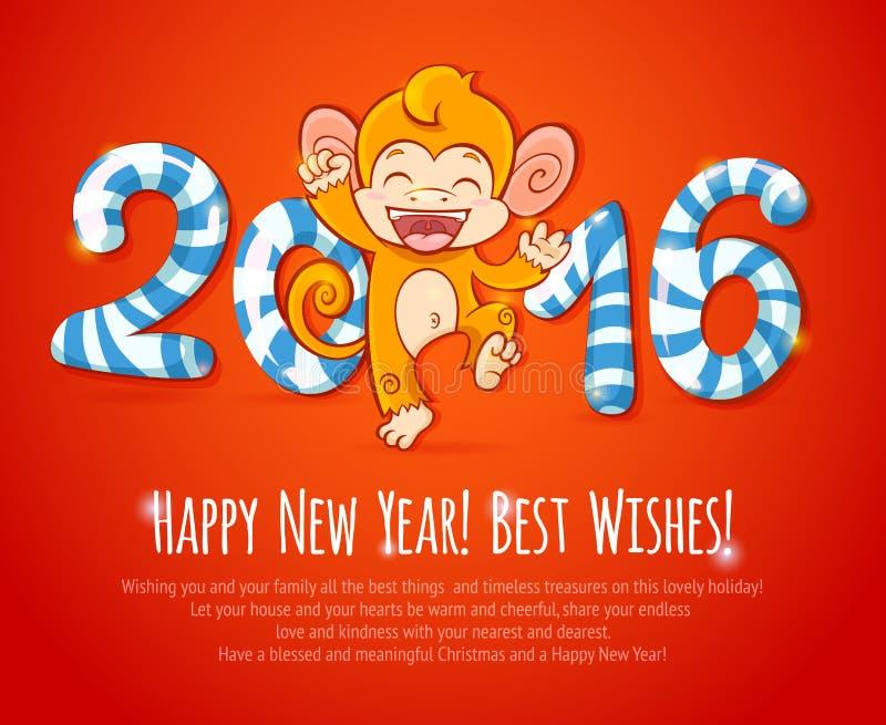 Nieuwe jaar Chinese kaart met aap 2016 jaar vector illustratie