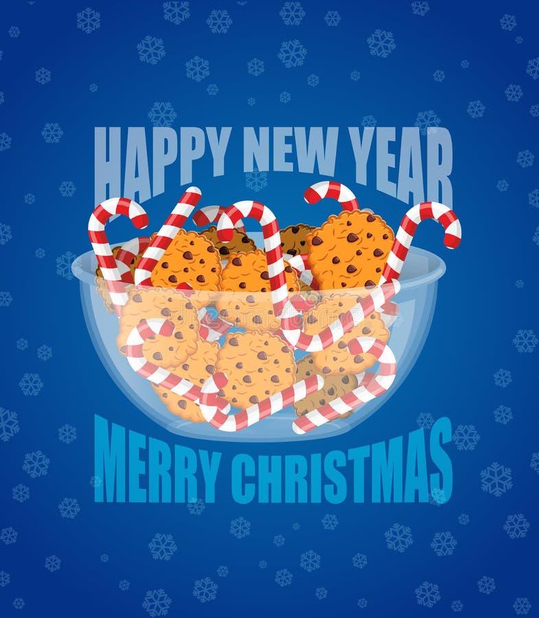 Nieuwe jaar en Kerstmis Het suikergoed en de koekjes van pepermuntkerstmis stock illustratie