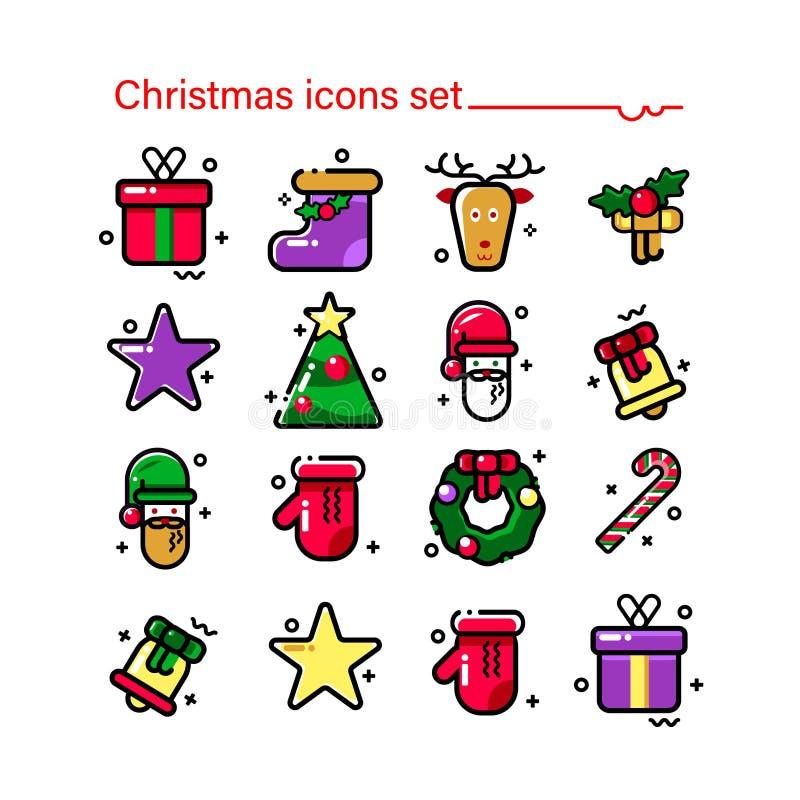Nieuwe jaar en Kerstmis Moderne stijl, lineaire pictogrammen Gelukkige de winter feestelijke, elegante beelden van Kerstmisbeelde vector illustratie