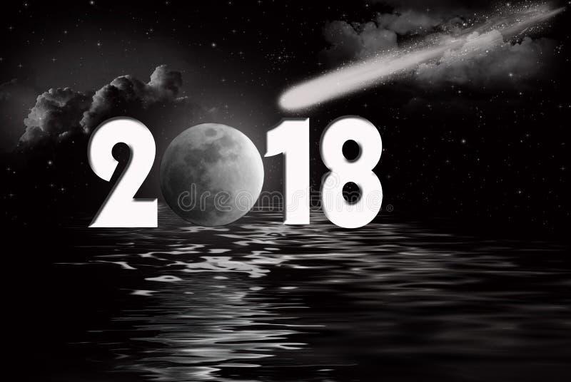 Nieuwe jaar 2018 volle maan en komeet stock illustratie