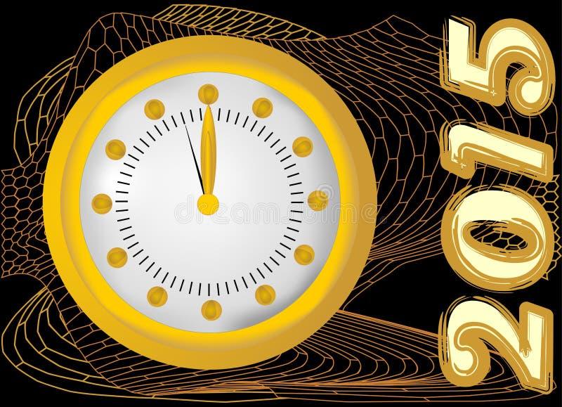 2015 - Nieuwe jaarachtergrond met klok en gouden netwerk stock illustratie