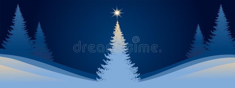 Nieuwe jaarbanner Kerstboom op de achtergrond van het nachtlandschap Vector vlakke illustratie vector illustratie