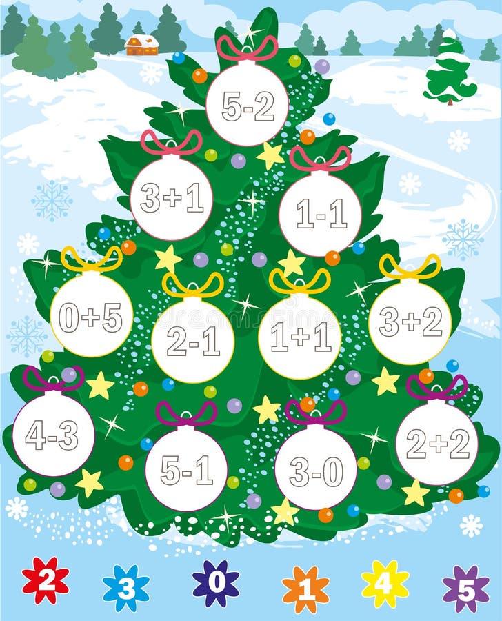 Nieuwe jaarboom Kerstmisspel telling en kleur Eenvoudig niveau stock illustratie