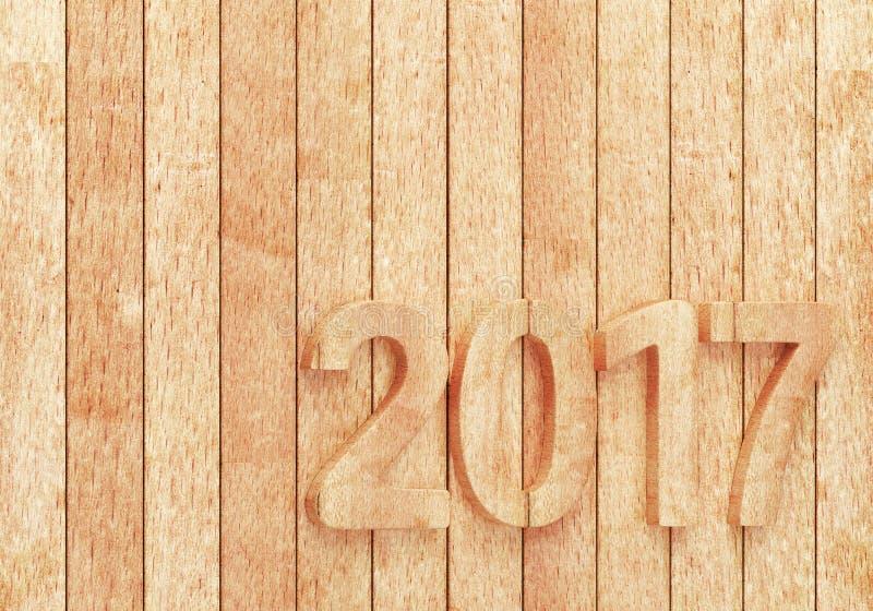 2017 nieuwe jaarcijfers op houten planken stock illustratie
