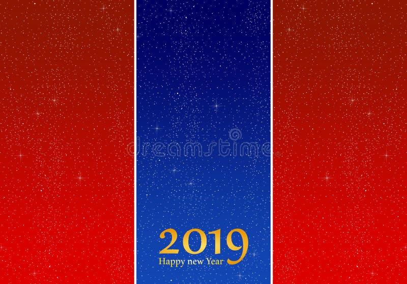 Nieuwe jaargroeten voor jaar 2019 met heldere rode achtergrond en blauwe strook met gloeiende sterren met gele lichten met aantal vector illustratie
