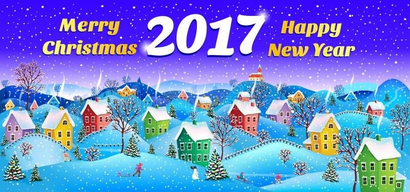 Nieuwe jaarkaart 2017 stock illustratie
