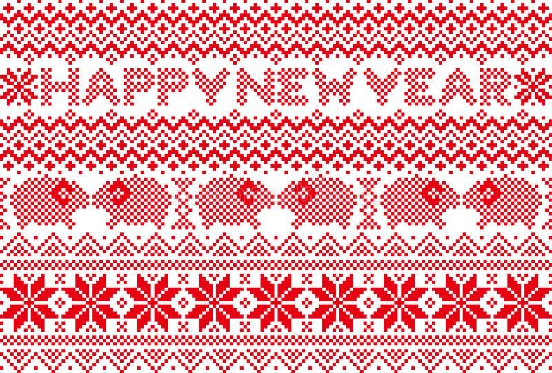 Nieuwe jaarkaart met noords patroon vector illustratie