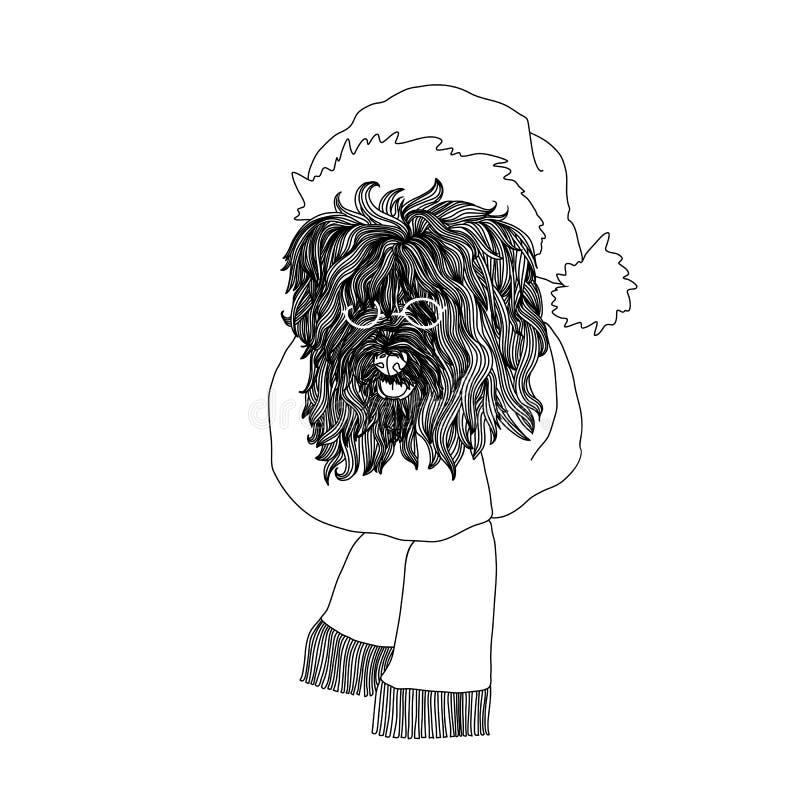 Nieuwe jaarkaart met pluizige hond in de hoed en de glazen van de Kerstman Zwart-witte vectorillustratie vector illustratie