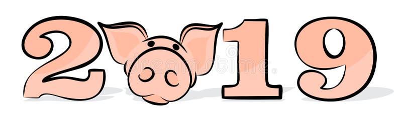 Nieuwe jaarkaart met varken vector illustratie