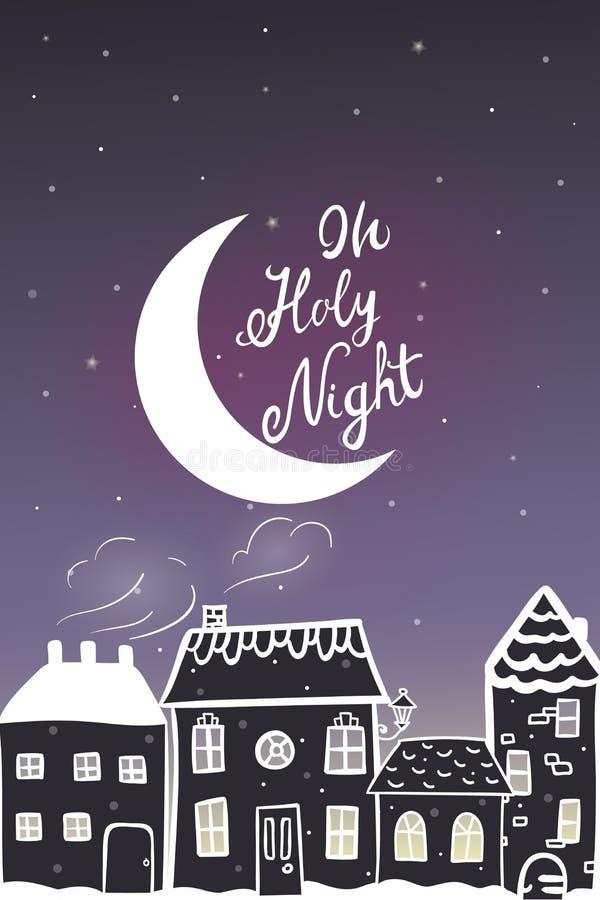 Nieuwe jaarkaart met warme de nachtmening van de beeldverhaal sneeuwende stad vector illustratie