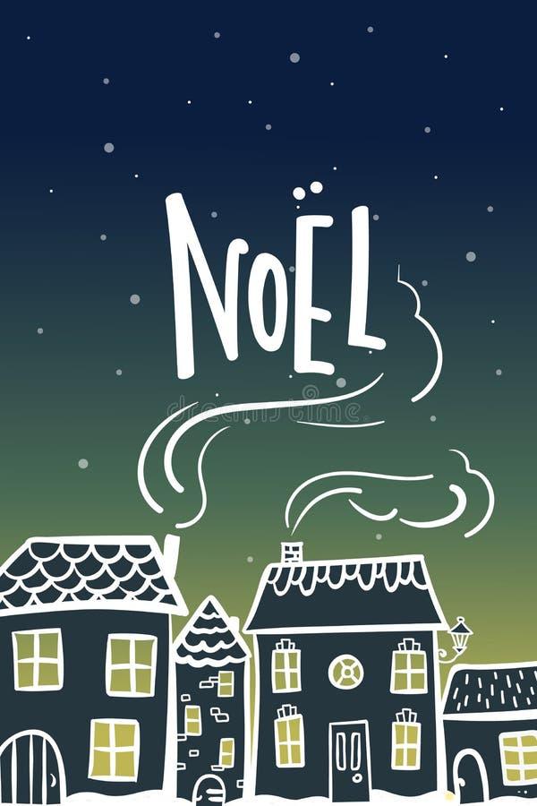 Nieuwe jaarkaart met warme de nachtmening van de beeldverhaal sneeuwende stad royalty-vrije illustratie