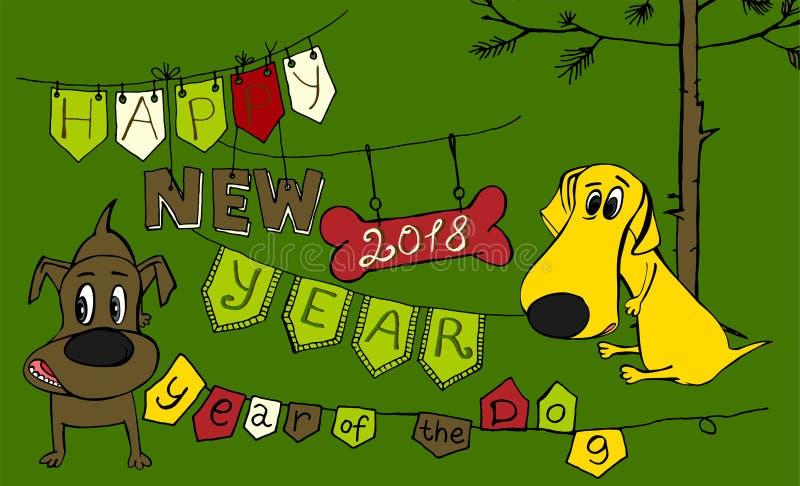 Nieuwe jaarprentbriefkaar vector illustratie